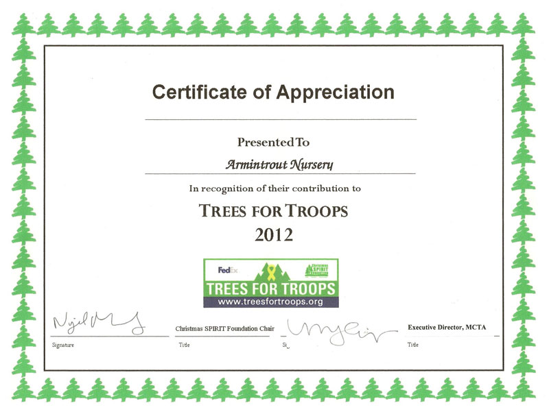 Trees for Troops Certificate